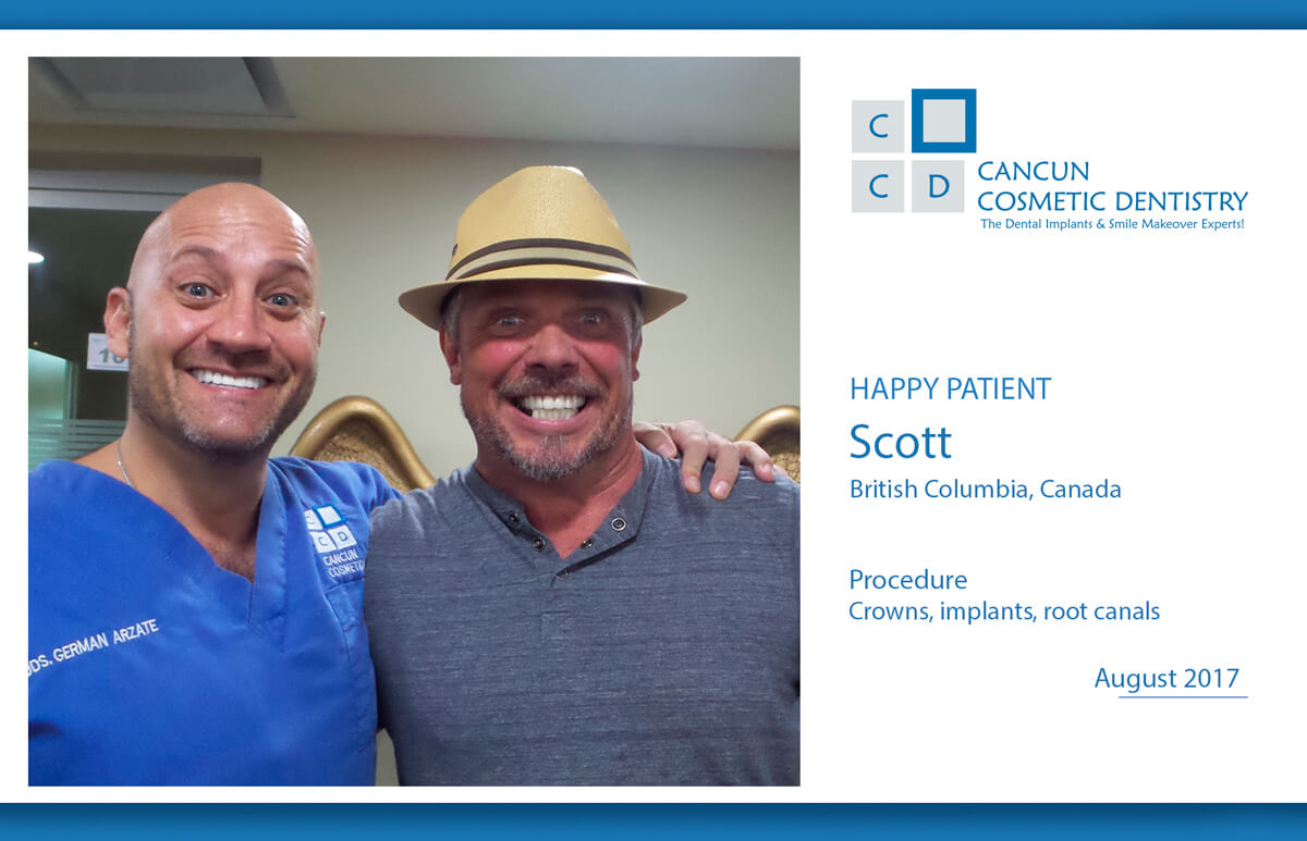 New patient happy with root canals, crowns and dental implants!