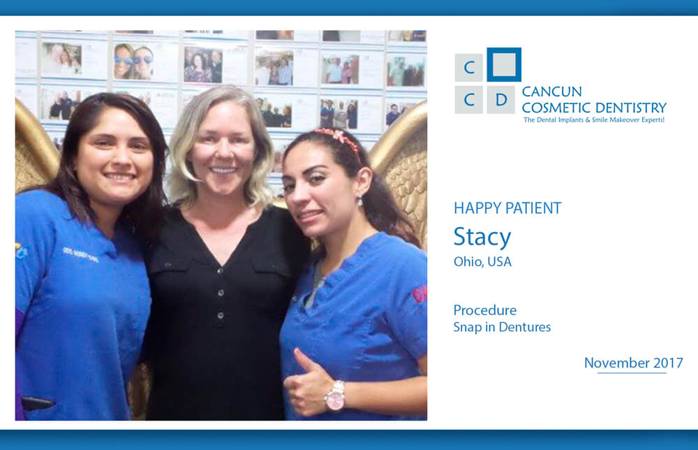 Doctor Wendy, Doctor Victoria and Stacy - A new Snap in Denture patient reviews Cancun Cosmetic Dentistry!