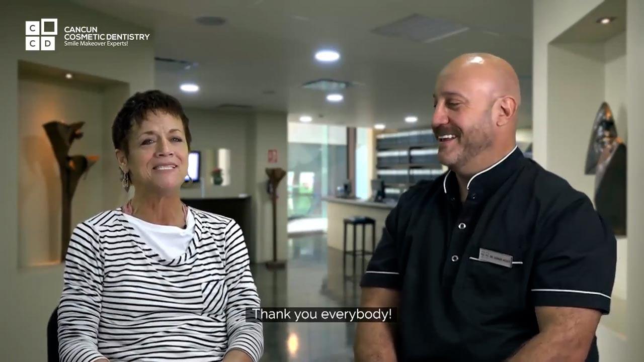 Cancun cosmetic dentistry video reviews testimonial smile makeover dental implant crown bone graft dentistry