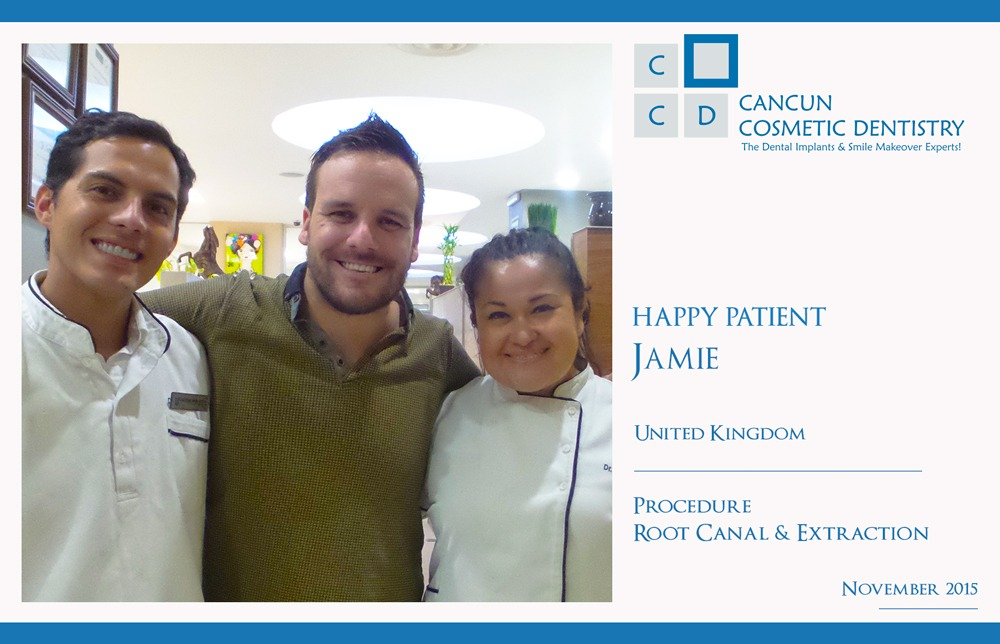 British happy patient with Dentists in Cancun