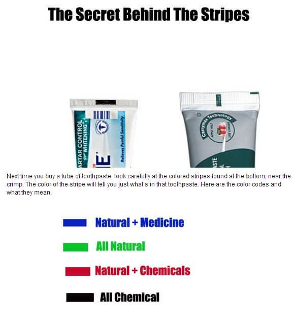 Toothpaste color myth rumor fake hoax