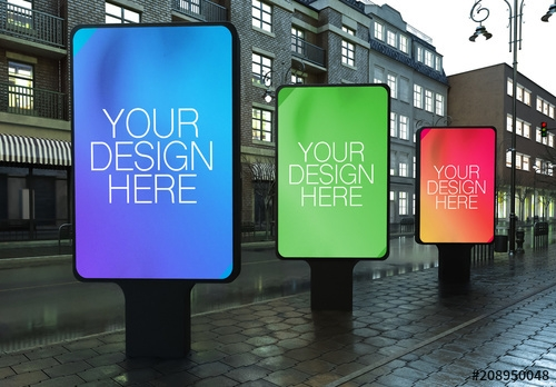 3 outdoor kiosk advertisements mockup buy this stock template and