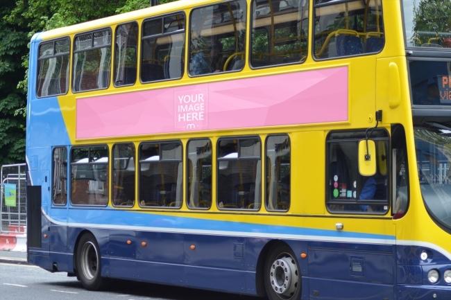 advertisement on bus mockup template mediamodifier
