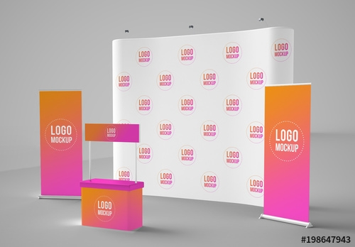 banners backdrop and kiosk mockup buy this stock template and