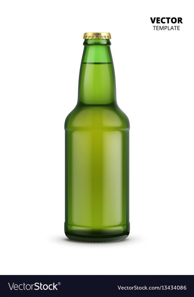 beer bottle glass mockup isolated royalty free vector image