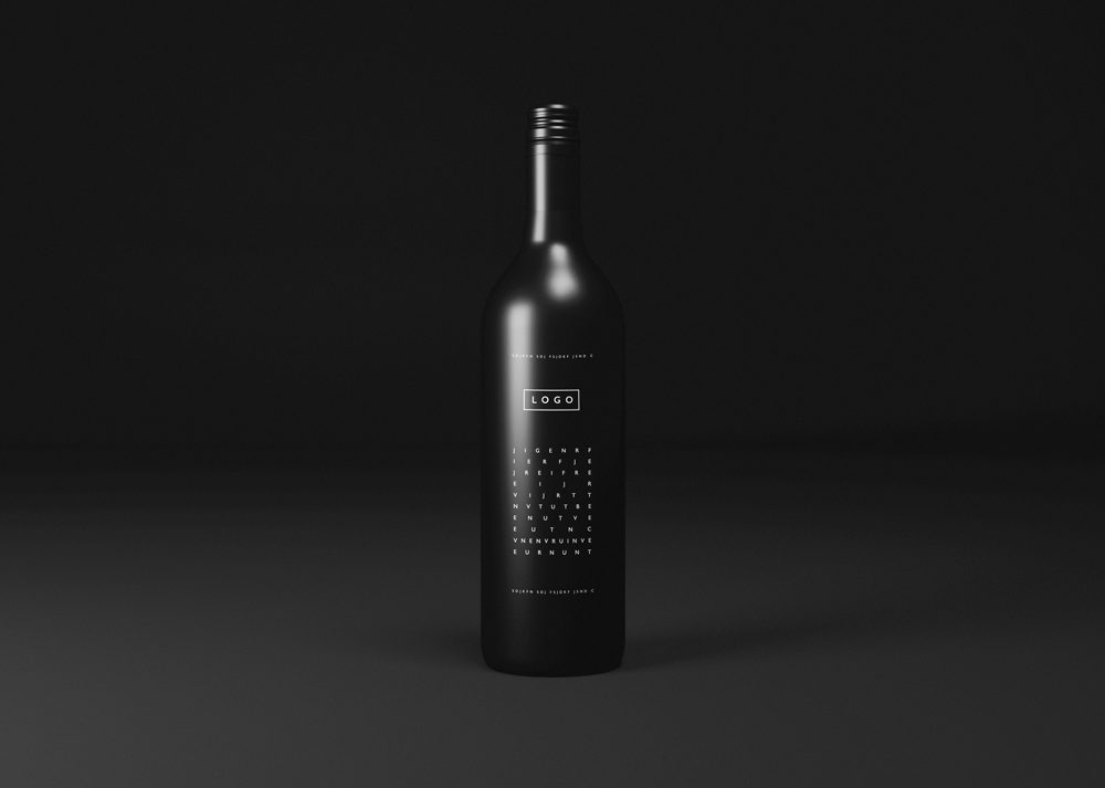 black wine bottle mockup mockupworld
