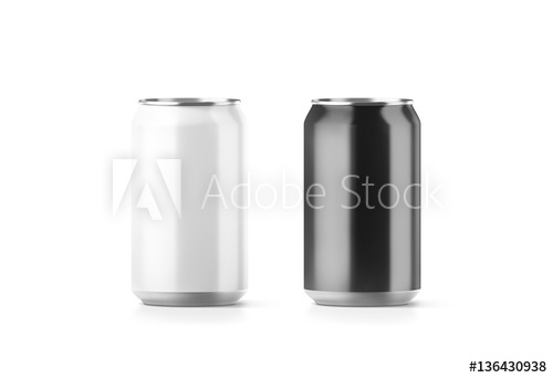 blank black and white aluminium soda can mockup 3d rendering empty