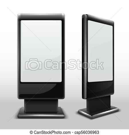 blank interactive outdoor kiosk digital tv standing touch screen isolated vector mockup