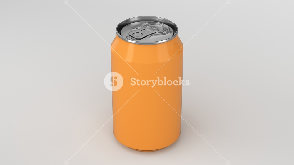 blank small orange aluminium soda can mockup on white background