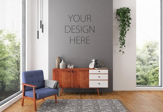 blank wall mockup art lounge interior living room mockup poster