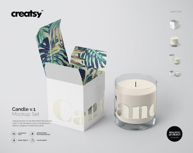 candle and box mockup set v1 candle template box mockup etsy