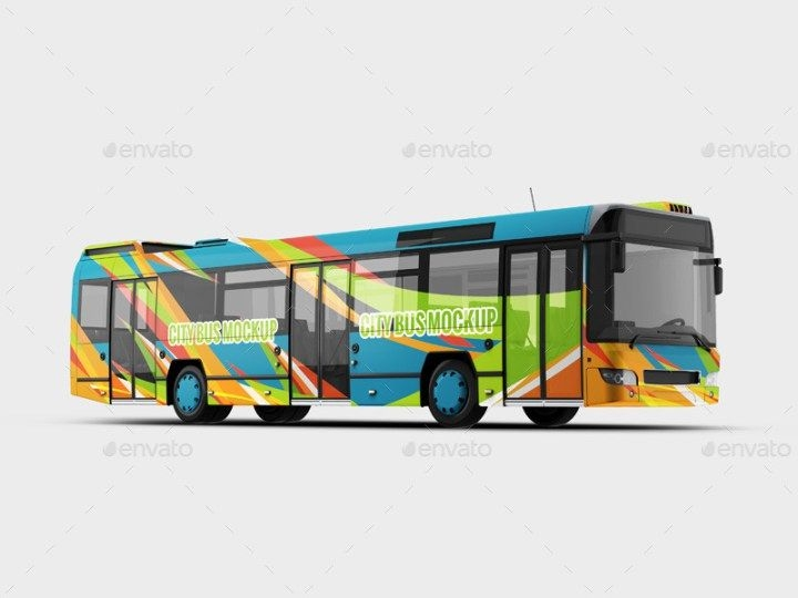 city bus mockup mockups bus advertising mockup brochure template