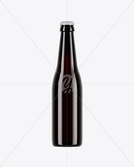 dark amber glass beer bottle mockup in bottle mockups on yellow
