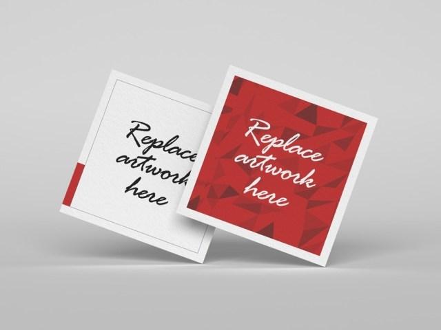 floating square business cards mockup mockup love