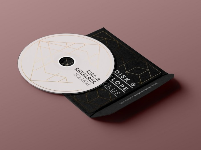 free cd disk sleeve mockup mockuptree