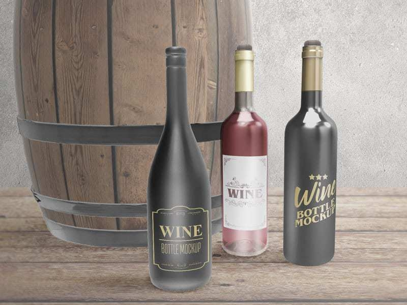 free download wine bottles mockup on vectogravic vectogravic