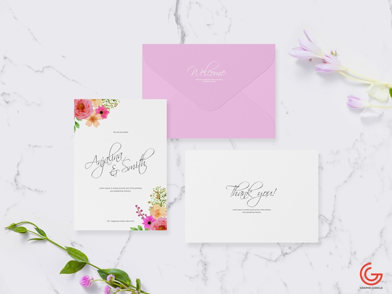 free invitation card mockup for wedding greetings graphic