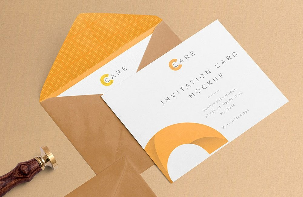 free invitation mockup with card and envelope daily mockup