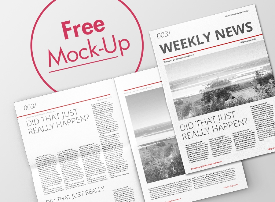 Download Free Newspaper Spread Mockup Yellowimages