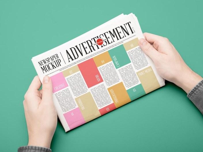 free newspaper mockup for advertisement mockuptree