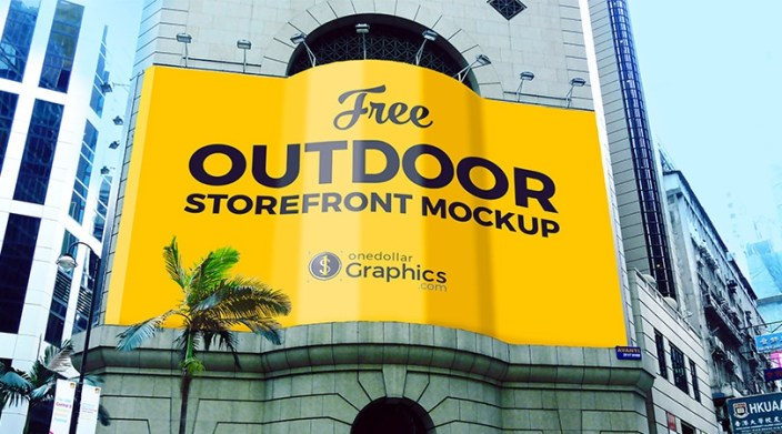 free outdoor advertising storefront building mock up psd file
