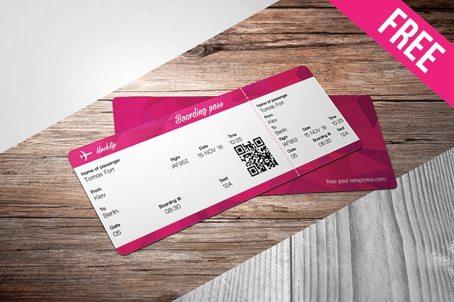 free ticket mock up in psd free psd templates