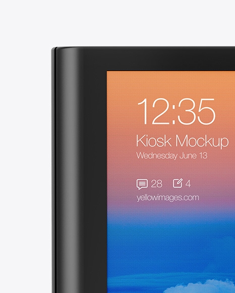 freestanding kiosk mockup in device mockups on yellow images object