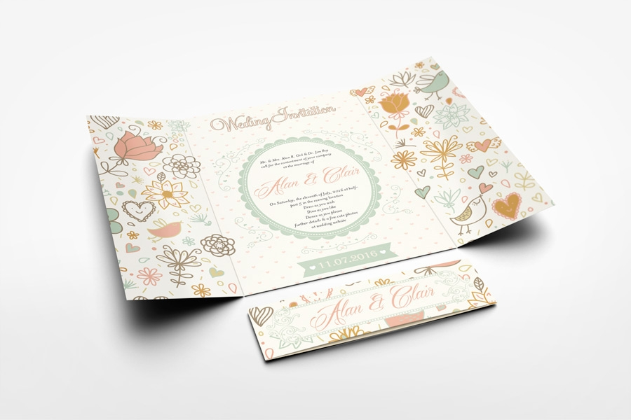 gatefold wedding invitation mockup on behance