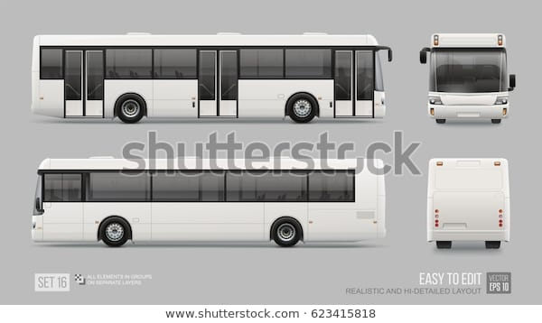 hidetailed long city bus mockup template stock vector royalty free