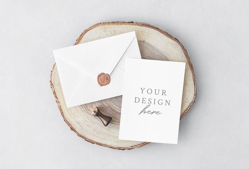 invitation card with envelope mockup mockupworld