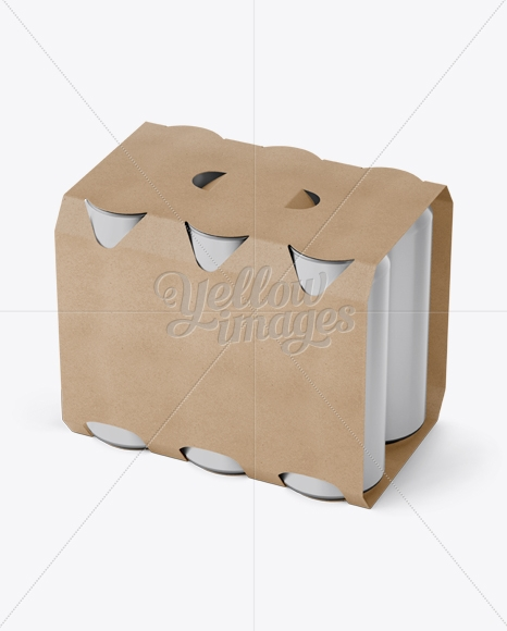 kraft paper 6 pack cans carrier mockup halfside view high angle