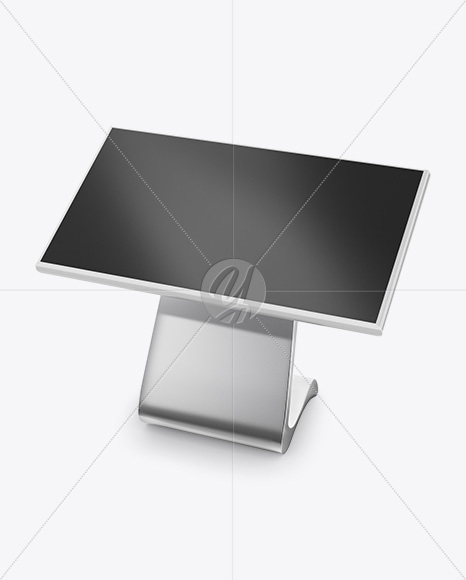 lcd touch screen kiosk mockup half side view high angle shot
