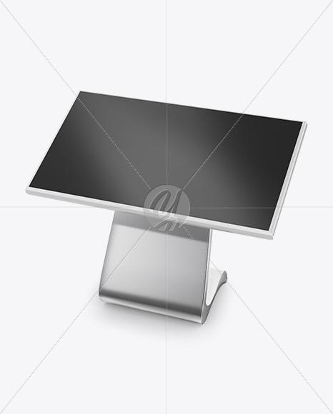 lcd touch screen kiosk mockup half side view high angle shot