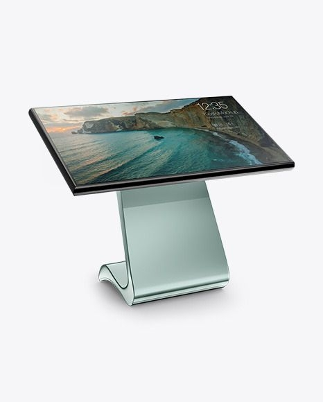 lcd touch screen kiosk mockup half sideview download lcd daily