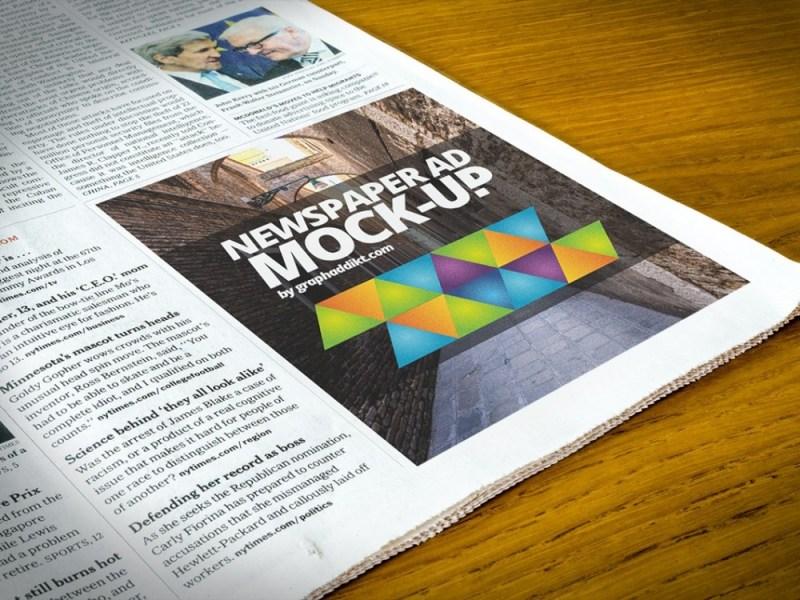 newspaper advert mockup mockupworld
