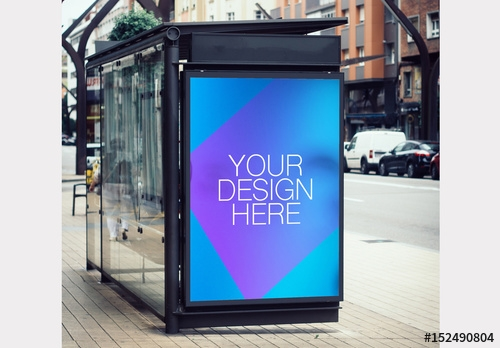 outdoor kiosk advertisement mockup buy this stock template and
