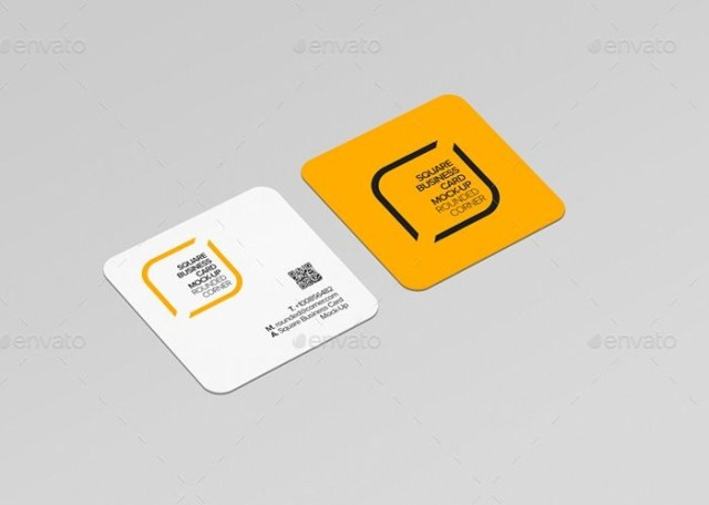 round corner square business card mockup mockup business card