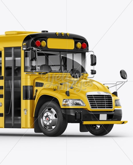 school bus mockup halfside view in vehicle mockups on yellow