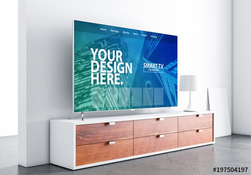 side view smart tv mockup with contemporary furniture buy this