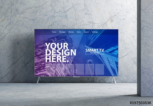 smart tv mockup with marbled interior buy this stock template and