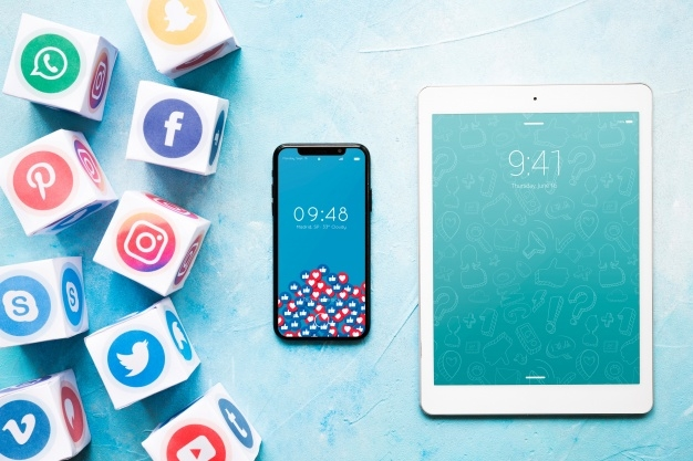 smartphone and tablet mockup with social media concept psd file