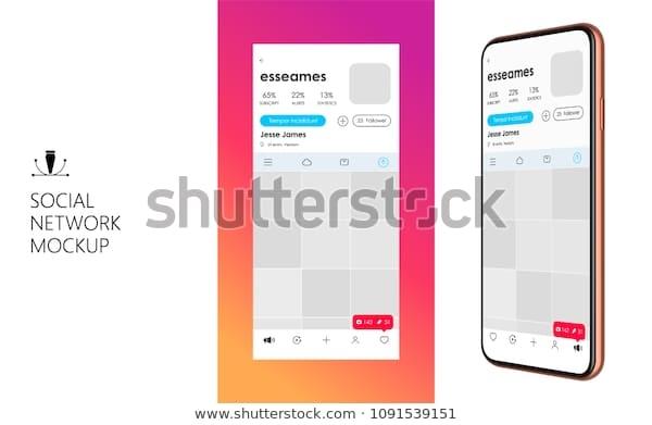 social media mockup design mobile app stock vector royalty free