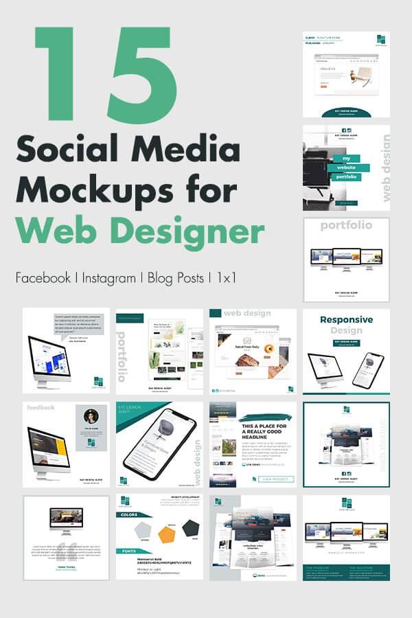 social media mockups for web designer
