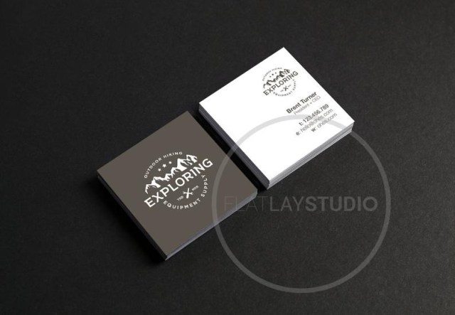 square business card mockup flat lay minimalist styled stock etsy
