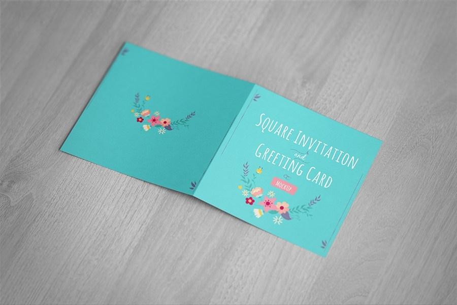 square invitation greeting card mockup free design resources
