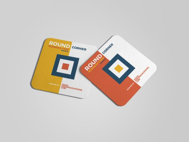 square round corner business card 2018 free mockup