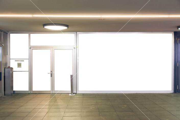 storefront mockup city urban flat wall glass doors white isolated