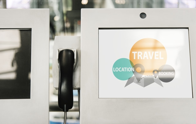 telephone and information kiosk screen mockup psd file free download