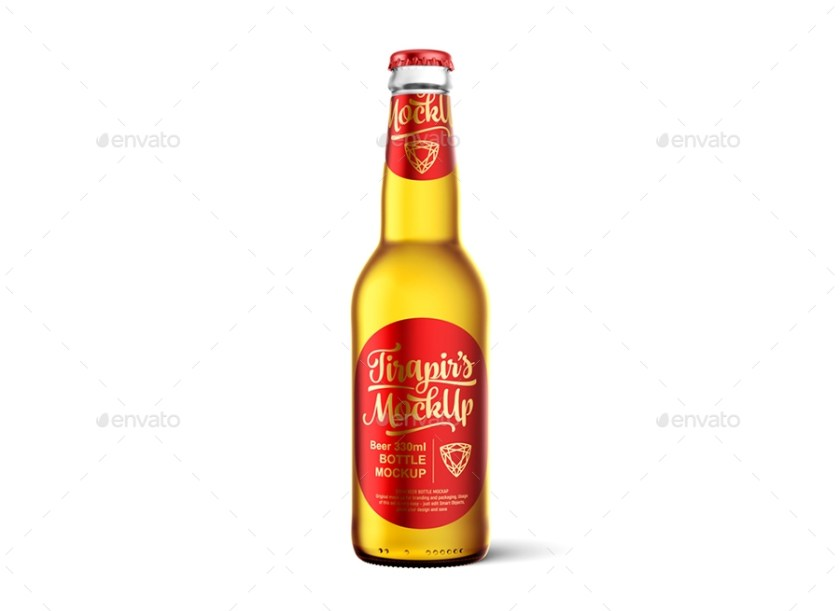 universal beer bottle with water drops mockup tirapir graphicriver