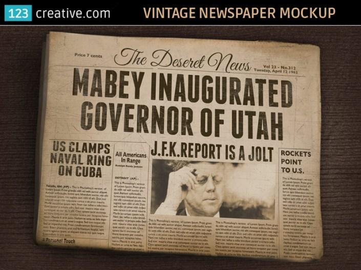 vintage newspaper mockup old folded newspaper on behance